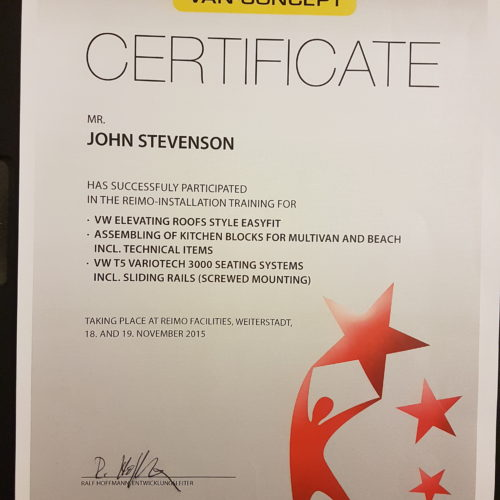 Reimo Variotech 3000 Seat Installation Certificate